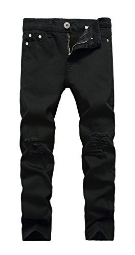 CLOTPUS Boys Black Skinny Ripped Jeans Slim Fit Distressed Destroyed Stretch Pants