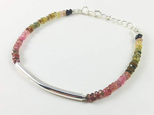 Anushruti Watermelon Tourmaline Beads -Silver Bar Bracelet for women 6.5 inches Gemstone Handmade Beaded Jewelry