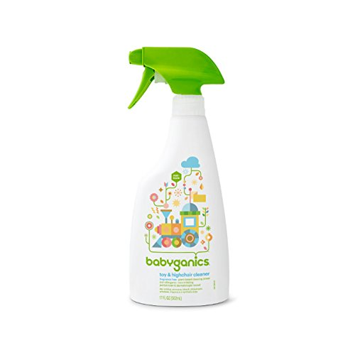 Babyganics Toy & Highchair Cleaner Spray, Fragrance Free, 17oz Spray Bottle