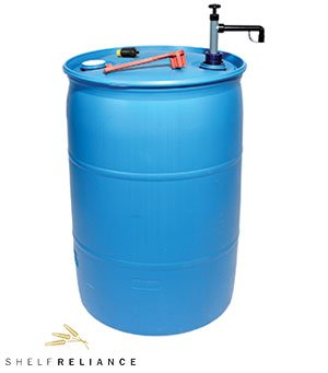 (Shelf Reliance® Deluxe BPA Free 55-gallon Barrel Water Storage System Includes Water Filter Pump By Aquamira, Food Grade Water Barrel)