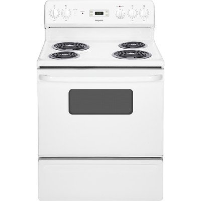 Hotpoint White Electric Range - Hotpoint RB526DHWW 30-Inch  5 Cu.Ft. Free-Standing Electric Range, White