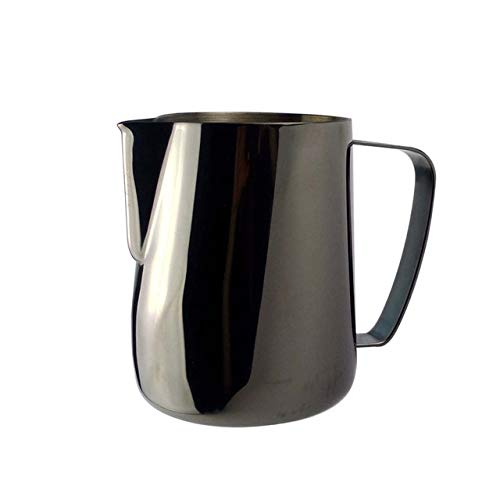 Portable Coffee Tea case 0.3-0.6L Stainless Steel Frothing Pitcher Pull Flower Cup Coffee Milk Frother Latte Art Milk Foam Tool Coffeware, Capacity:350ml(black) Portable Coffee Tea case by Fanclplus