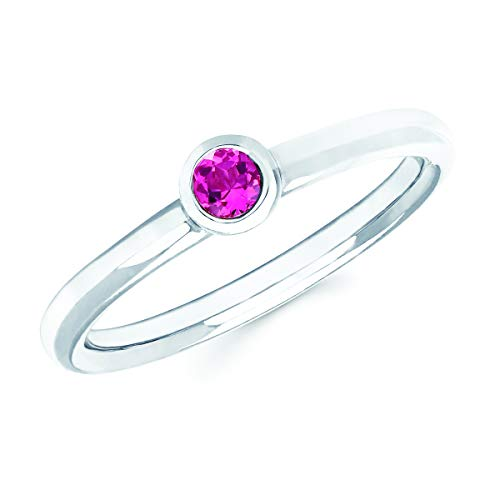 14K White Gold Round Genuine Pink Tourmaline October Birthstone Bezel-Set Stackable Solitaire Ring, Size 5