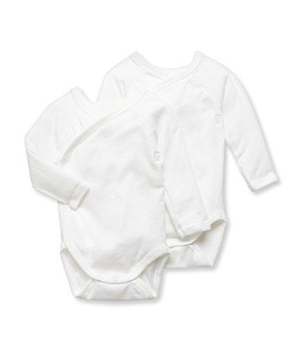 Petit Bateau 2 Pack Unisex Kimono Bodysuits, 6M (26 1/2 inches) ()
