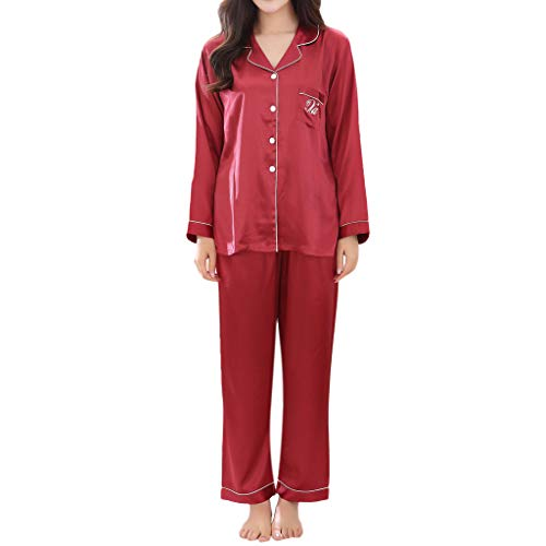 Price comparison product image Women Couple Solid Pajamas Spring Silk Long Sleeve Casual Comfortable Home Clothes Red