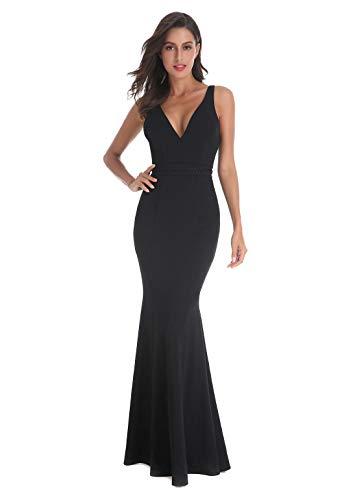 Women's Vintage Deep-V Wedding Bridesmaid Evening Dress, Mermaid Party Dresses (Medium, Black)