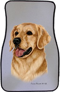 Golden Retriever Car Floor Mats - Carepeted All Weather Universal Fit for Cars & Trucks