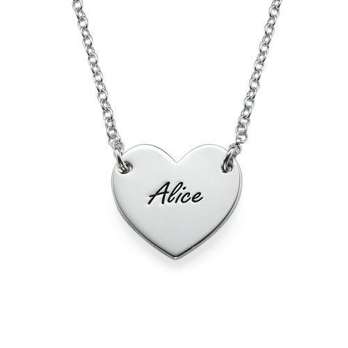 - Sterling Silver Engraved Heart Necklace (18 Inches)