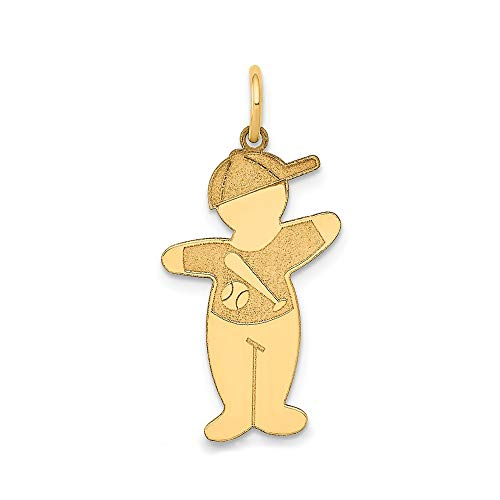 - The Kids Collection 14K Yellow Gold Laser Cut Baseball Shirt Cuddle Boy with Baseball Cap Charm Pendant