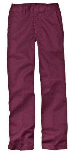 Dickies Big Boys' Classic Flat Front Pant, Burgundy, 20 Regular by Dickies