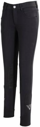 TuffRider Girls Wellesley Knee Patch Breech with Contoured Sock Bottom