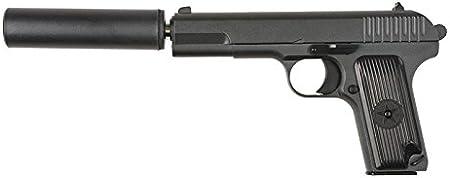 Pistola airsoft Galaxy G.33 negra metálica con silencio . Calibre 6mm. Potencia 0,6 Julios
