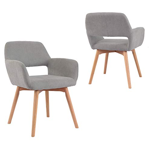 Modern Design Fabric Accent Chair Dining Chair W/Solid Wood Leg Living Room (Grey) Set of 2 (Accent Chairs Fabric)