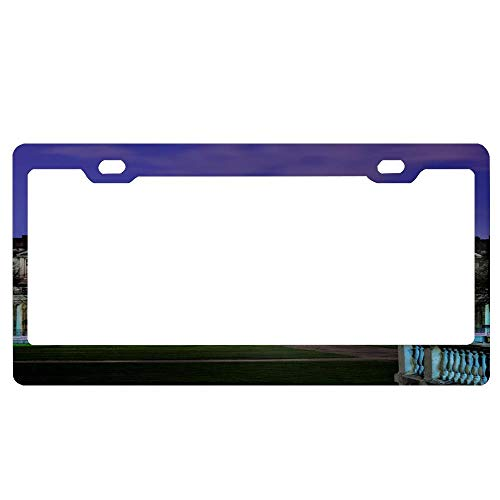 SportsFloraling ENGL- London-Royal Greenwich Observatory License Plate Frame, Black License Plate Frame 2 Holes Slim Border Aluminum Metal Frame with Chrome Screw Caps for US Vehicles