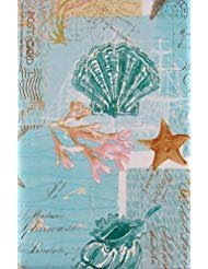 Seashells, Starfish and Coral on Nautical Charts and Post Cards Vinyl Flannel Back Tablecloth (52