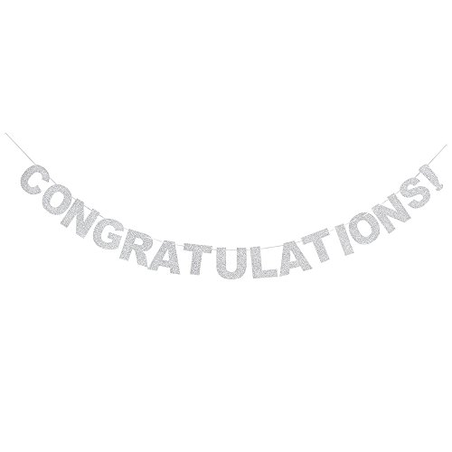 Congratulations Silver Glitter Party Banner For Graduation/Wedding Party Decorations Photo Props.]()