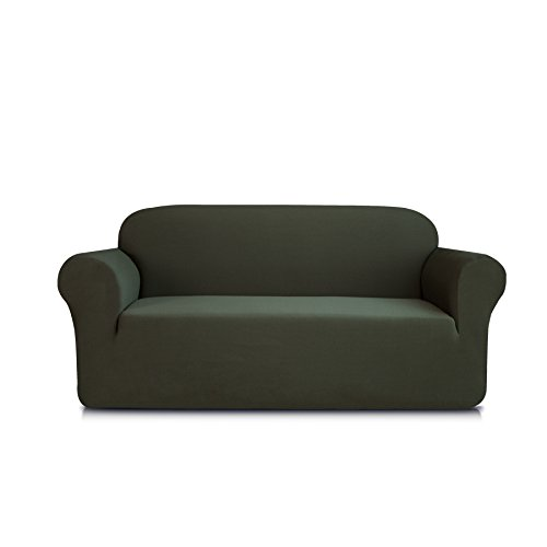DyFun 1-Piece Knit Spandex Stretch Dining Room Sofa Slipcovers (Loveseat, Army Green) (1 Piece Knit)