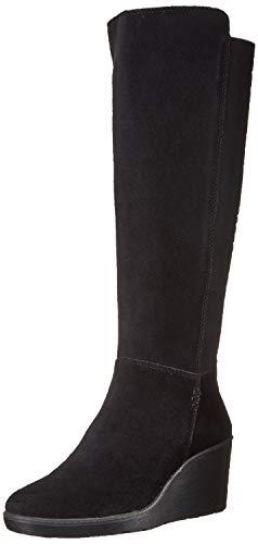 CLARKS Women's Hazen Madison Fashion Boot, Black Suede, 070 M US Black Suede Wedge Boots