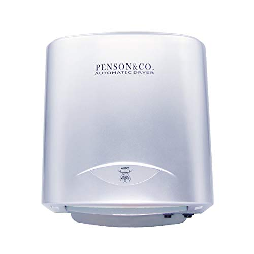 PowerPress AHD-2001-00 PENSON & CO. Super Quiet Automatic Electric Hand Dryer Commercial High Speed 95m/s, Silver, Instant Heat & Dry, Brushed