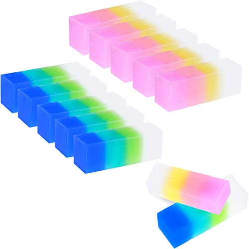 12 Pieces Colored Cube Pencil Erasers Soft Flexible Rubber Erasers Cute Gradient Erasers for School, Office, Kids