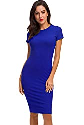 Acacia Flowers Women S Knitting Cotton Sexy Casual Short Sleeve Crew Neck Bodycon Tight Stretchy Midi Dress Plus Size Comfy Work Out Summer Pencil Dresses Blue