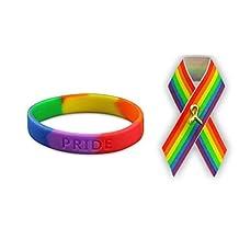 Pulsera de silicona con diseño de orgullo gay y arcoíris de satén para adultos