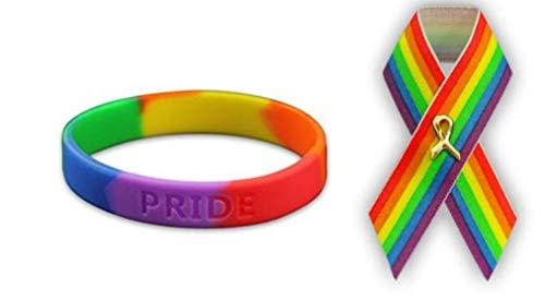 (Fundraising Adult Size Gay Pride Rainbow Silicone Bracelet + Satin Rainbow Pin)
