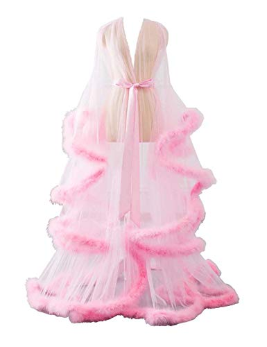 Changuan Sexy Feather Bridal Robe Tulle Illusion Long Wedding Scarf New Custom Made Pink XX-Large