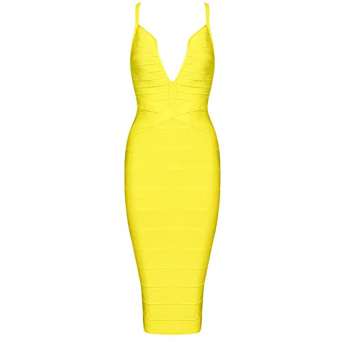 Knee Sexy Hlbandage Bandage Neck V Length Dress Strap Women Jaune Spaghetti TqOR6