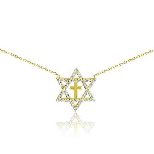 Jewish Star of David With Religious Cross Necklace
