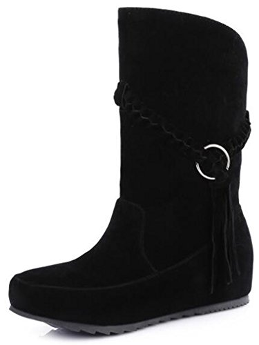 Idifu Womens Low Cost Boots Con Zeppa In Ecopelle Con Suede Al Polpaccio Con Frange Nere