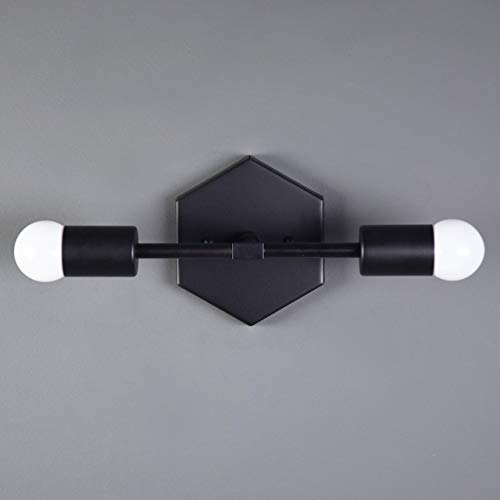 Two Fixture (Vanity Sconce Matte Black Mid Century Modern Two Light Mid Century Hexagon Light Fixture Handmade in U.S.A.)