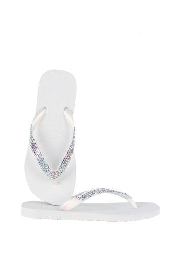 Lori Jack Swarovski Crystal Flip Flops (41/42, White/Iridescent)