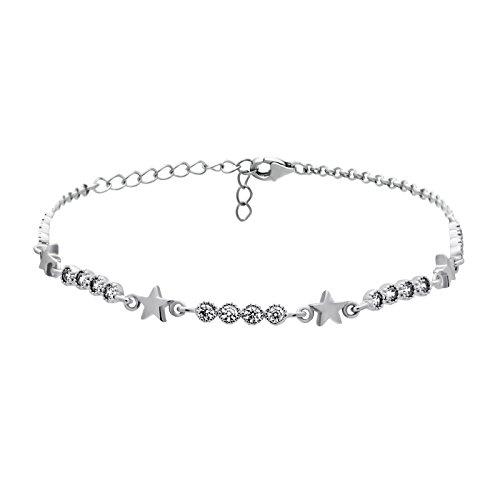 925 Sterling Silver Star Bracelet,Simple Silver Bracelet with Stars, Star Bracelet Tiny Star Bracelet, CZ Silver Star Jewelry,Tiny Star Charm Bracelet,3.8 gram,Lobster Clasp