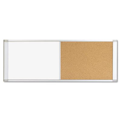 MasterVision Combo Cubicle Workstation Dry Erase/Cork Board, 48x18, Silver Frame - BVCXA42003700