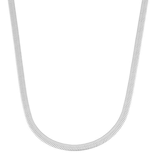 Verona Jewelers Sterling Silver 4.5MM Herringbone Flat Snake Magic Chain -925 Vintage Shiny Anklet and Necklace Chain for Men and Women (22)
