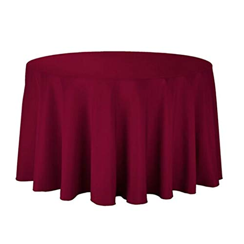 Round Tablecloths for Wedding/Banquet/Restaurant - Washable Polyester Plain Fabric Table Cover