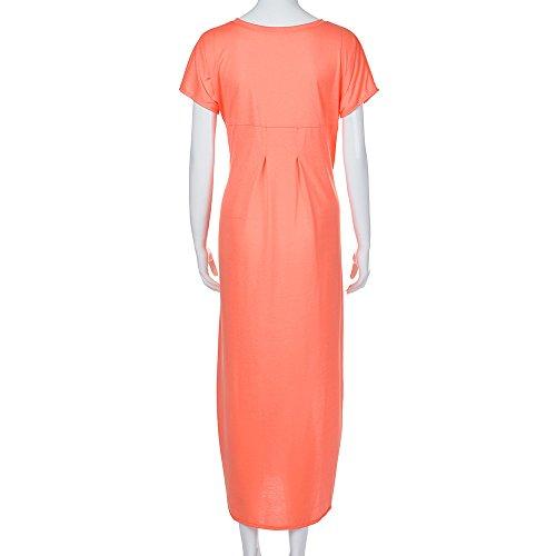 Zolimx Kurzarm-Kleid Damen Solide Lose Sommer V-Ausschnitt Strand Gallus Kurzen Ärmeln Bodenlangen Langen Kleid Rosa 2LNiB6