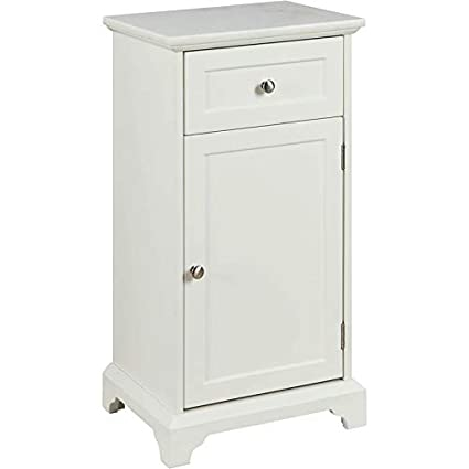 Acme Simes Marble Top Floor Cabinet In White