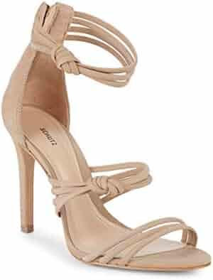 Schutz Kelma Rose Pink Velvet Wraparound strap ankle tie Chik Block Heel Sandals