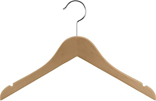 The Great American Hanger Company Wooden Junior Top Hanger, Box of 100 Flat 14 inch Space Saving Wood Hangers w/Natural Finish, Notches and 360 Degree Chrome Swivel Hook ()