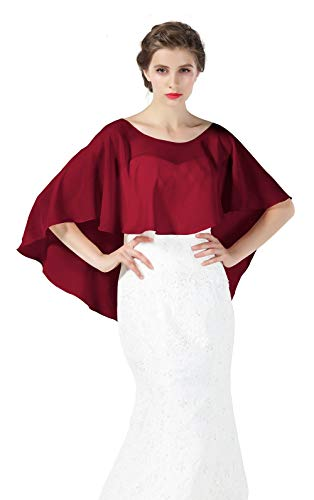 Bridal Capelet Chiffon Cape Shawls High-Low Short Tops For Women Wedding Dresses Burgundy ()