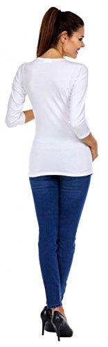 Zeta Ville - T-shirt Camiseta Premamá Bebé estampado X-Rayos - para mujer - 004c Blanco