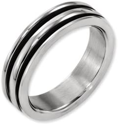 Titanium 6mm Grooved Black Rubber Polished Band Best Quality Free Gift Box