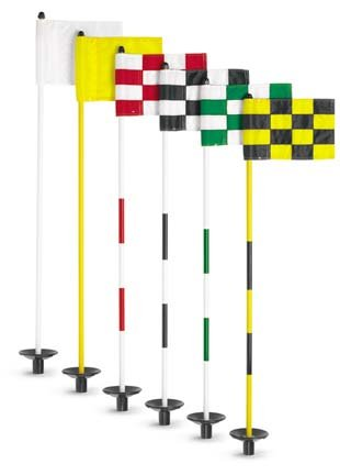 Jr. Flagstick Practice Green Marker / Checkered Flag Sets (Red) - Set of 9 by Par Aide (Image #1)