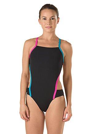 Speedo Women's Vee 2 Color Block Sport Monokini Swimsuit, Black, Size 8/34 - Speedo Block