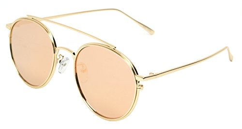 Classic Aviator Sunglasses Military Style Air Force Pilot Glasses Sports Eyewear Metal Frame (GOLD PINK 50518, 2.00)
