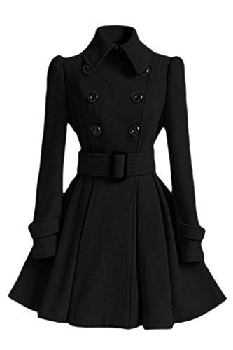Women's Double Breasted Long Trench Coat with Belt Black Small Cropped Double Breasted Peacoat