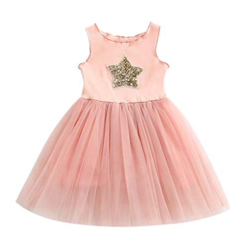 Dress of Princess Child Baby Christening Ceremony Anniversary Lace Sequined Sleevesless with Crystal Belt for Your Girl Gift Toponly ()
