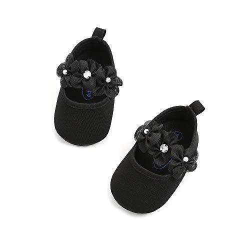 Meckior Infant Baby Girls Soft Sole Prewalker Crib Mary Jane Shoes Princess Light Shoes (0-6 Months, A-Black)